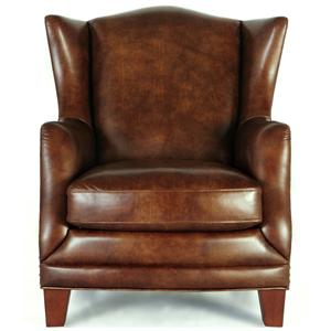 Newton 2005 Rich Medium Brown Leather Winged Chair by Futura Leather