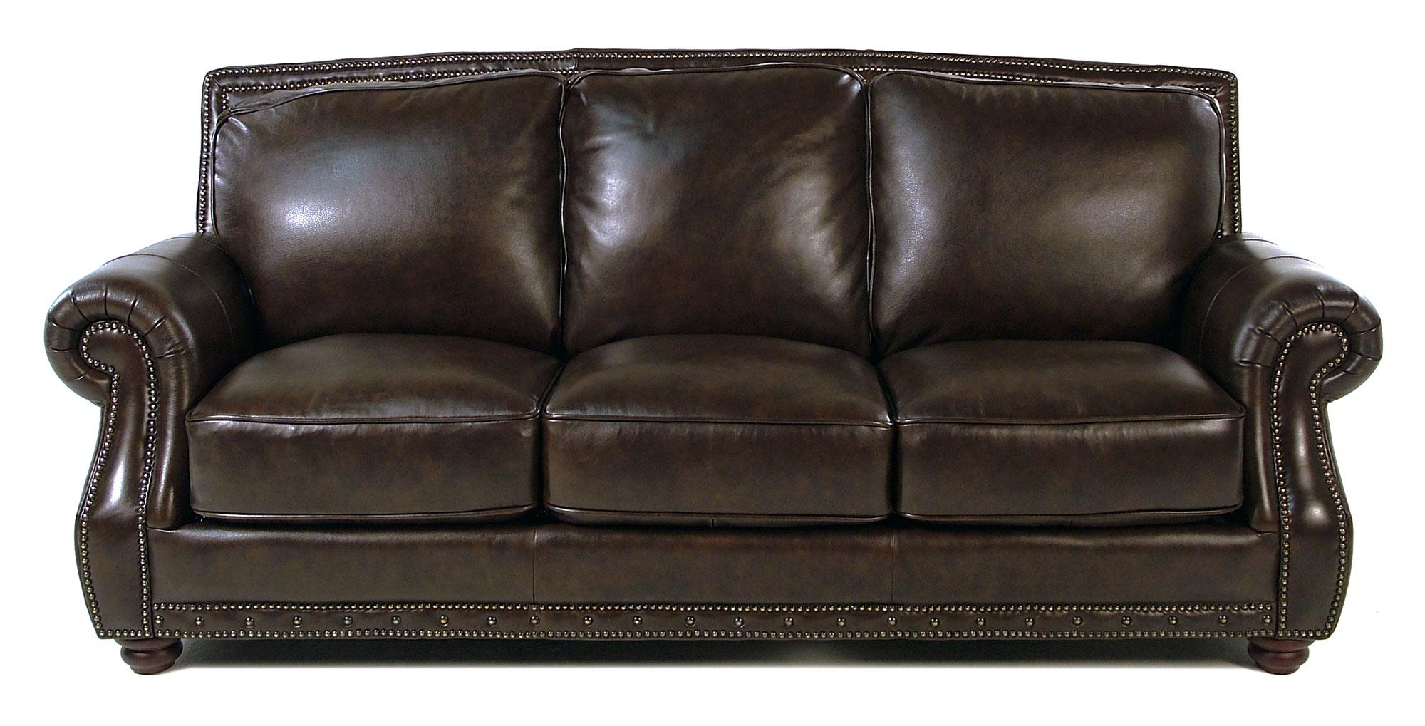 Loft Leather Vincenzo Traditional Leather Sofa with Rolled Arms and ...