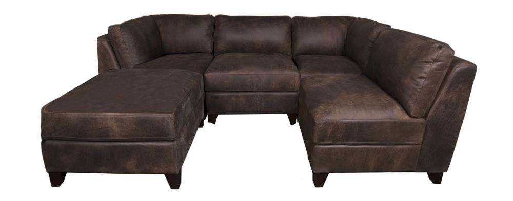 Morris Home Furnishings Theron Theron 100% Leather 5-Piece Sectional - Item Number: 134674253