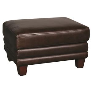 Morris Home Furnishings Victor Victor 100% Leather Ottoman