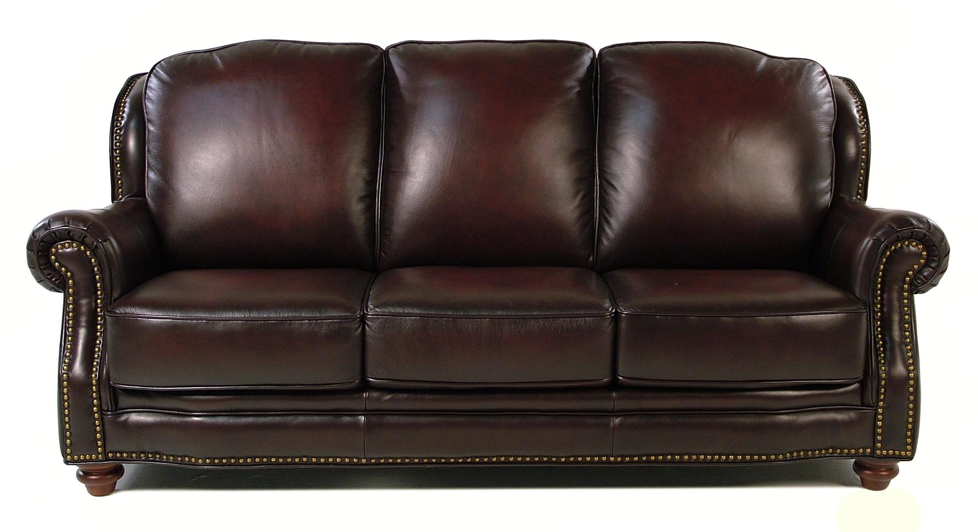 Loft Leather Wallingford Traditional Leather Sofa w/ Nailhead Trim ...