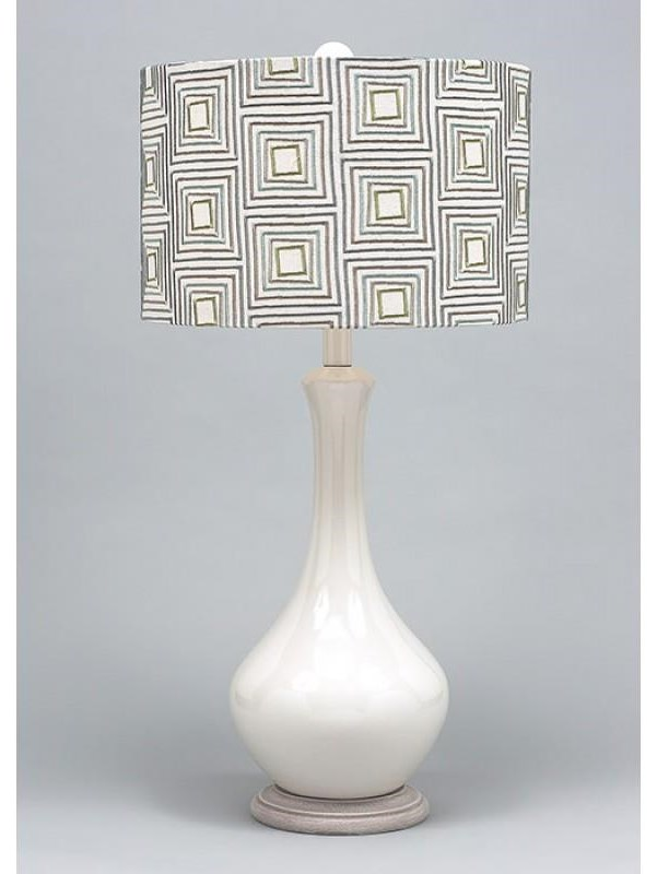 Geometric Embroidered Fabric Table Lamp