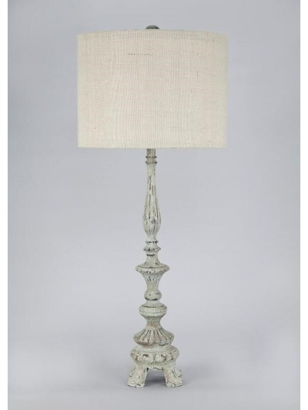 Beige Textured Fabric Shade Table Lamp