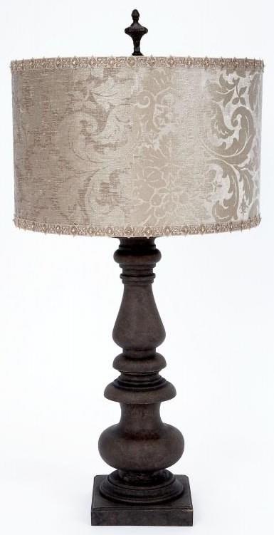 Platinum Velvet Embossed Shade Lamp