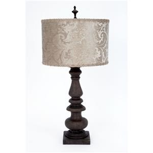 Platinum Velvet Embossed Shade Lamp