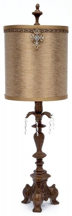 Gold Silk and Beaded Crystal Lamp