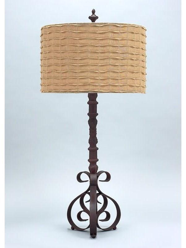 Burlap Shade with Cast Iron Base Lamp