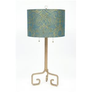 Turquoise Silk and Cast Iron Table Lamp
