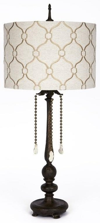 Embroidered Linen Shade Table Lamp