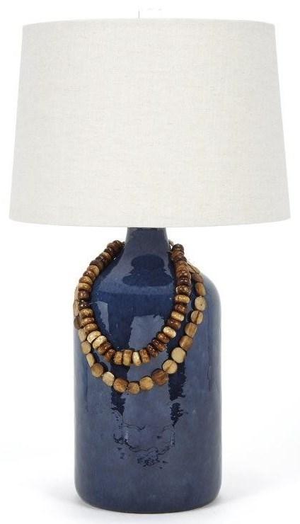 Lapis Blue Ceramic Lamp with Bone Bead Accen
