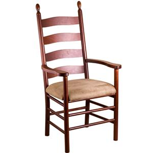 Gat Creek Dining Slat Back Arm Chair With Upholstered Seat