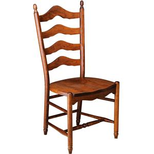 Greenbrier Dining Ladder Back Side Chair with Wooden Seat