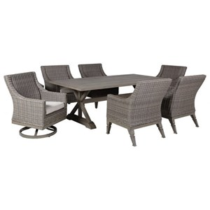 Gatherings Calistoga 7 Piece Outdoor Trestle Table and Chair Set