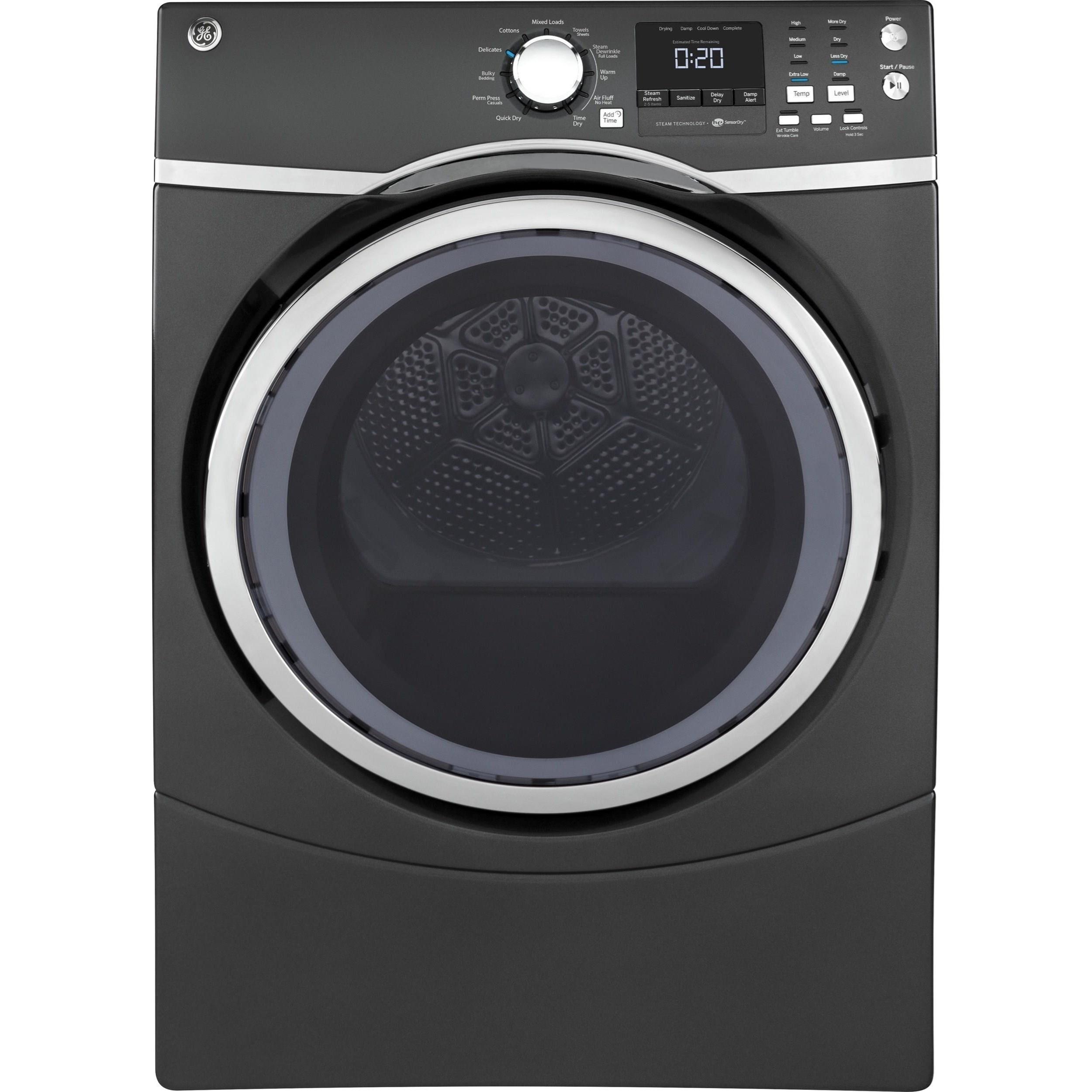 GE Appliances Electric Dryers - GE 8.3 Cu.Ft. Electric Steam Dryer - Item Number: GFD49ERPKDG