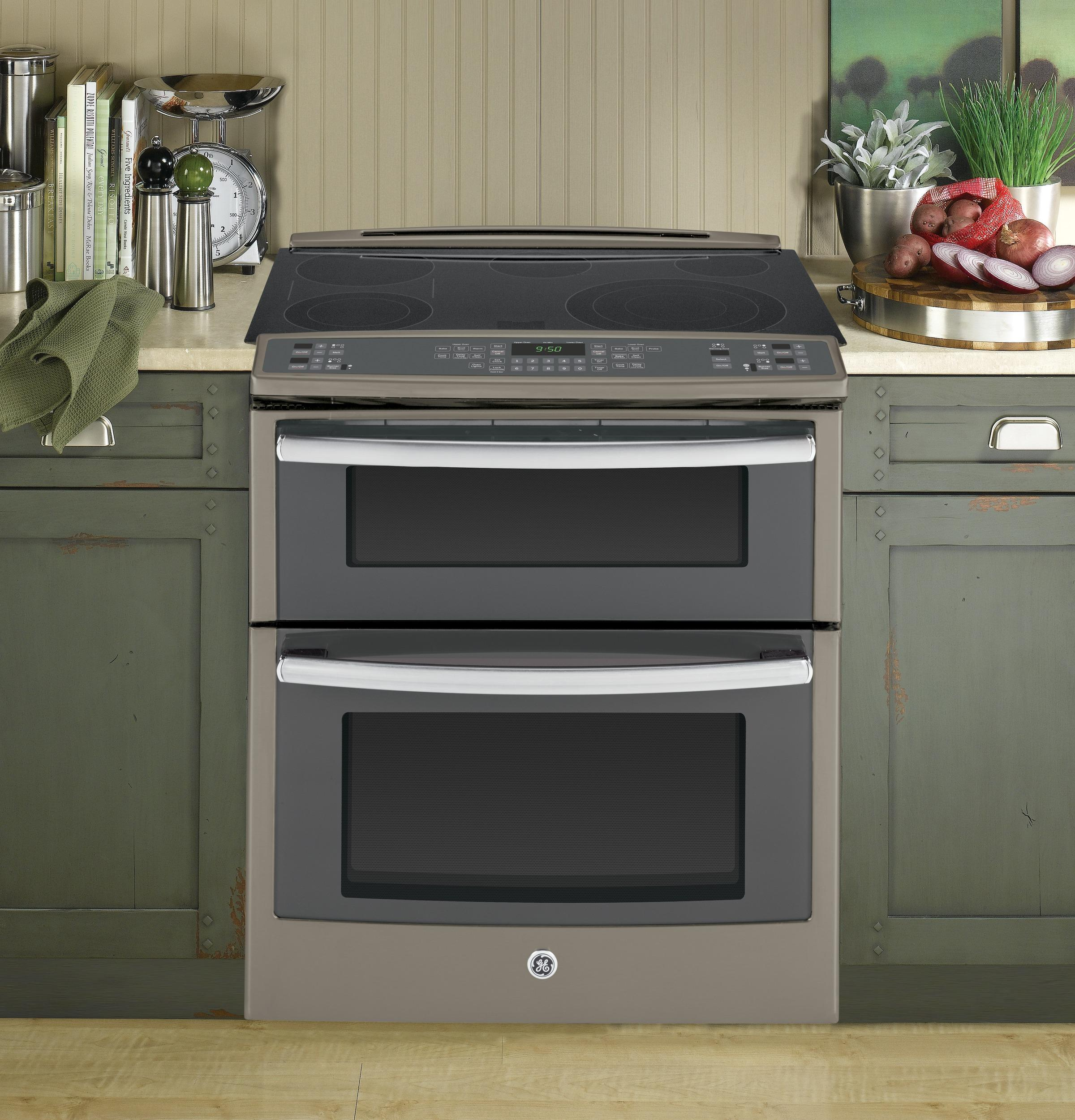 "GE Appliances Electric Ranges - 2014 2 Profile™ 30"" Slide-In Double Oven - Item Number: PS950EFES"