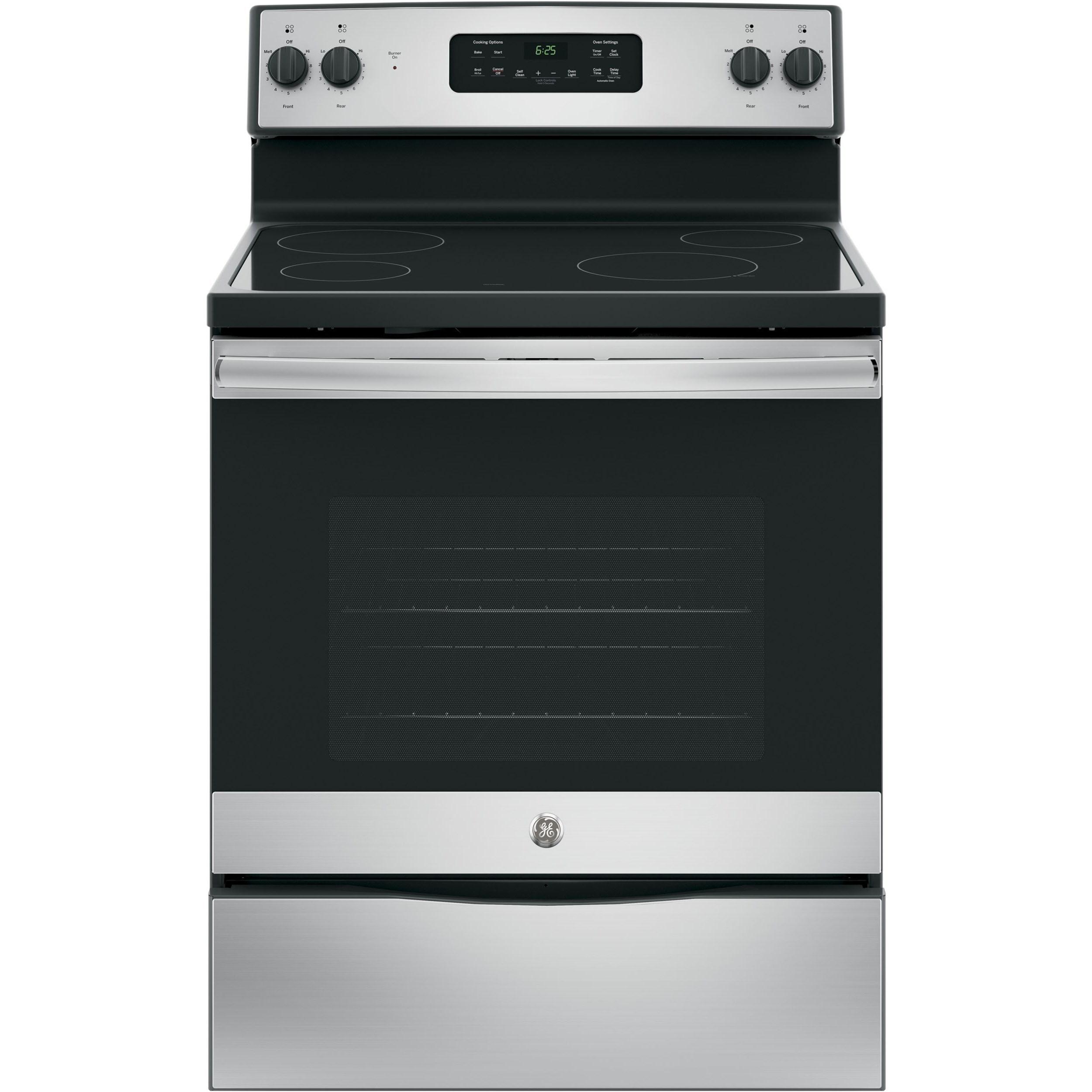 "GE Appliances GE Electric Ranges GE® 30"" Free-Standing Electric Range - Item Number: JB625RKSS"