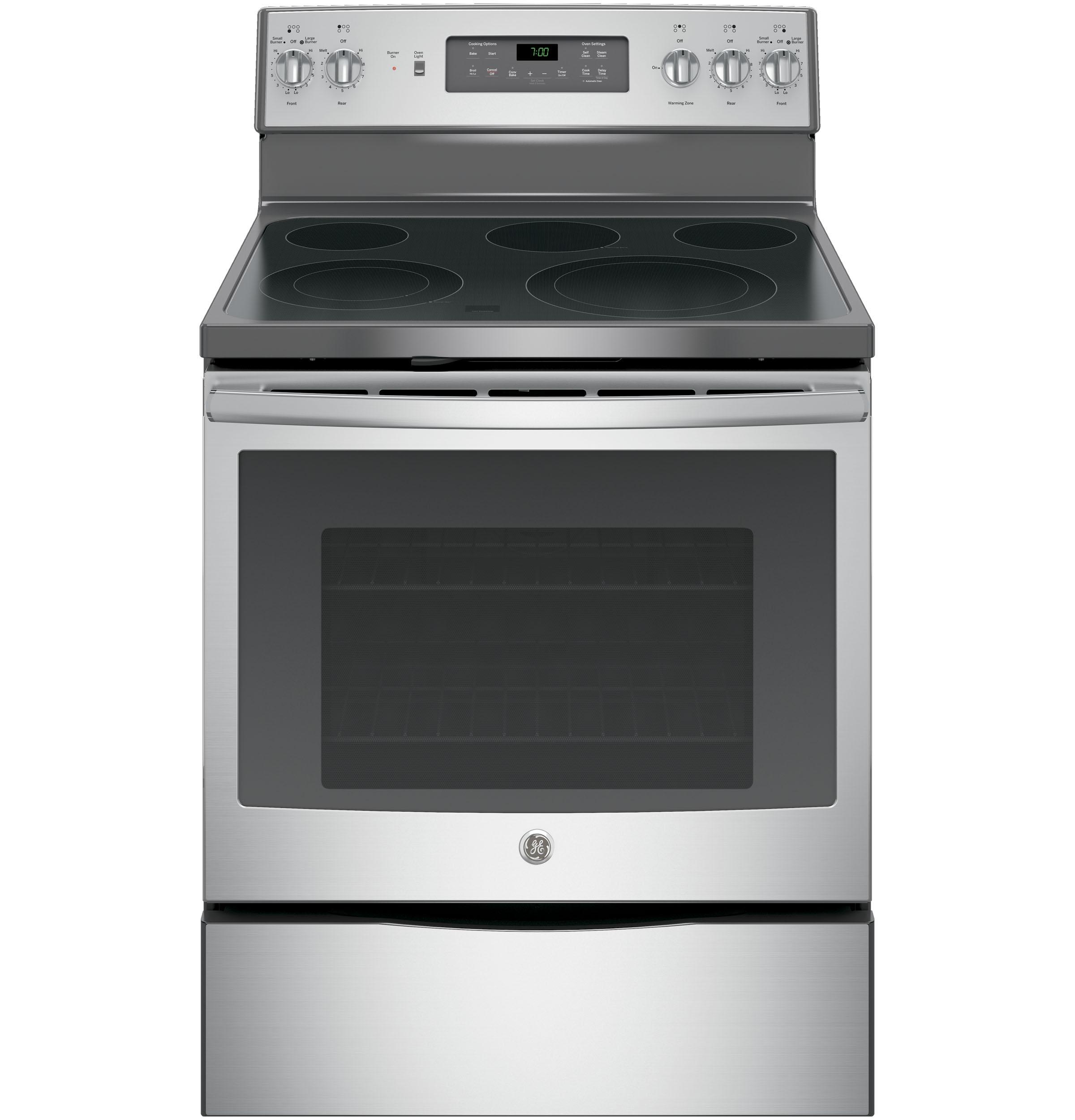 "GE Appliances GE Electric Ranges 30"" Electric Convection Range - Item Number: JB700SJSS"
