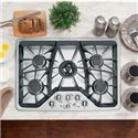 "GE Appliances Gas Cooktops 30"" Built-In Gas Cooktop - Item Number: CGP350SETSS"