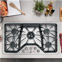 "GE Appliances Gas Cooktops 36"" Built-In Gas Cooktop - Item Number: CGP650SETSS"