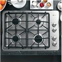 """GE Appliances Gas Cooktops 30"""" Built-In Gas Cooktop - Item Number: PGP943SETSS"""
