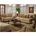 Genesis 1900 Stationary Sofa with Wood Legs - Shown with Oversized Chair, Ottoman, and Love Seat