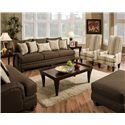 Genesis 1950 Classic Styled Sofa with Contemporary Flair and Elegant Disposition - Shown with Coordinating Collection Accent Chairs. Coordinating Collection Chair and a Half and Ottoman Shown in Lower Corners.