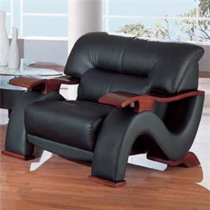 2033 Contemporary Leather Chair with Exposed Wood Arms by Global Furniture