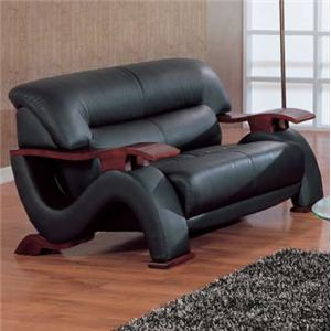 Global Furniture 2033 Contemporary Leather Love Seat with Exposed Wood Arms