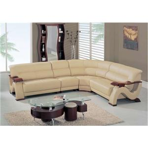 Global Furniture 2033 Contemporary Sectional with Exposed Wood Arms