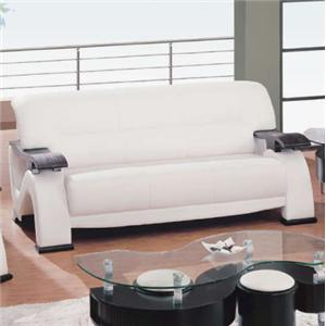Global Furniture 2033 Contemporary Leather Sofa with Exposed Wood Arms