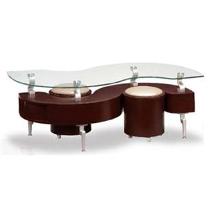 Global Furniture 288 Contemporary Coffee Table with 2 Stools and Glass Top