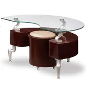 288 Contemporary End Table with Stool and Glass Top by Global Furniture