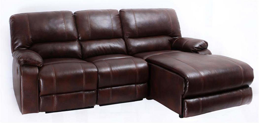 Three Piece Sectional Sofa with One Recliner