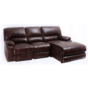 8135 Casual Three Piece Sectional Sofa with One Recliner and Storage Drawer by Global Furniture