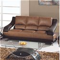 Global Furniture 928 Contemporary Leather Sofa with Metal Feet - 982-T/BR-S