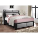 Global Furniture 9652 Upholstered King Bed - Item Number: 9652-BL PU-GR-KB W-STEREO AND LIGHT