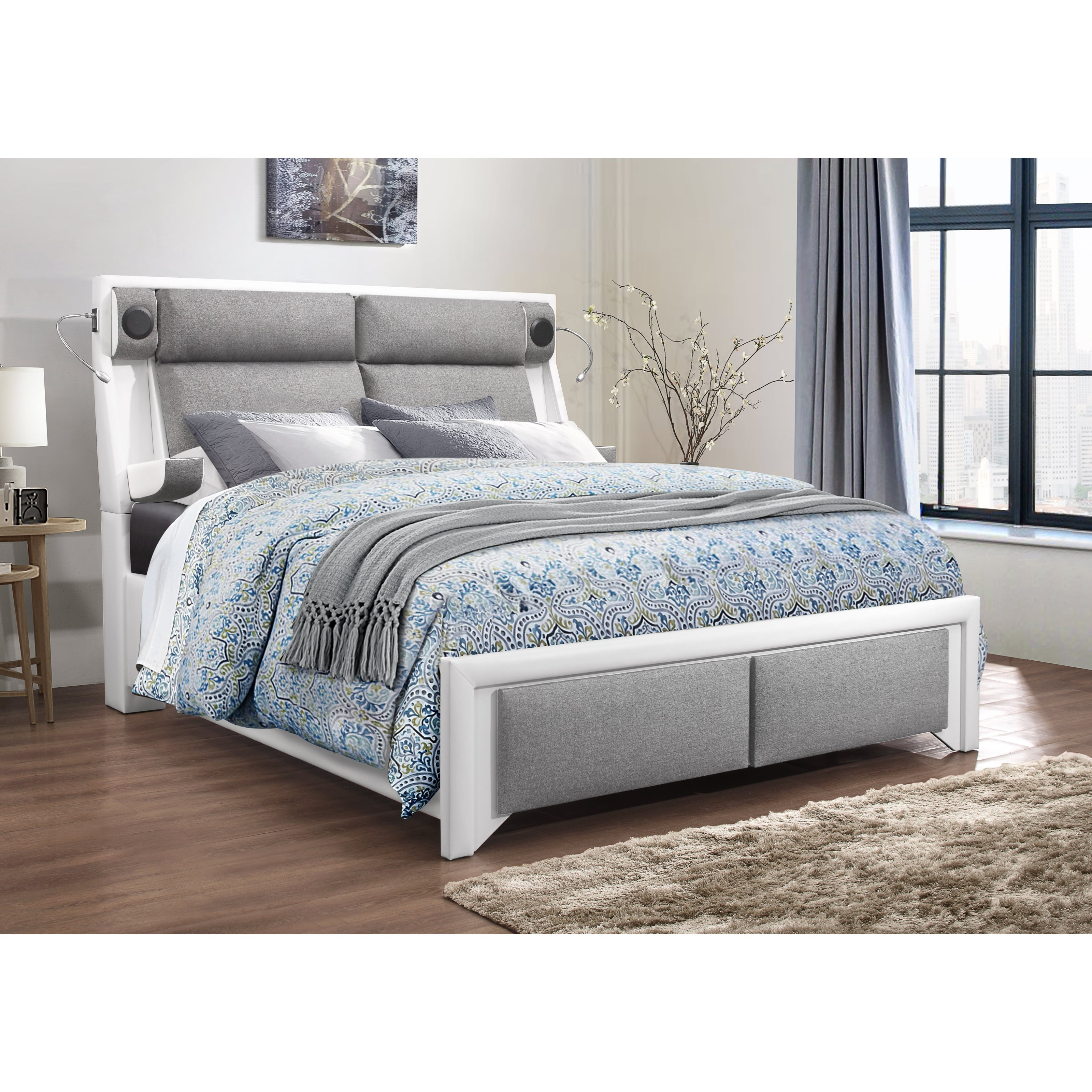 9652 Upholstered Queen Bed by Global Furniture at Nassau Furniture and Mattress