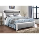 Global Furniture 9652 Upholstered Queen Bed - Item Number: 9652-WH PU-GR-QB W-STEREO AND LIGHT