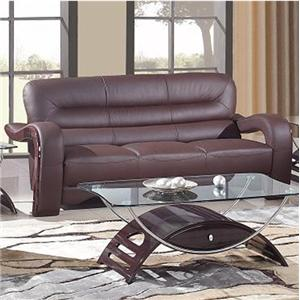 992 Modern Leather Sofa with Curved Arms by Global Furniture