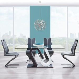 Ultra-Modern 5 Piece Pedestal Table and Chair Set