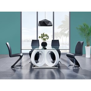 Ultra-Modern 5 Piece Pedestal Table and Upholstered Chair Set