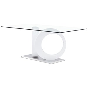 Glass Dining Table with Geometric Base