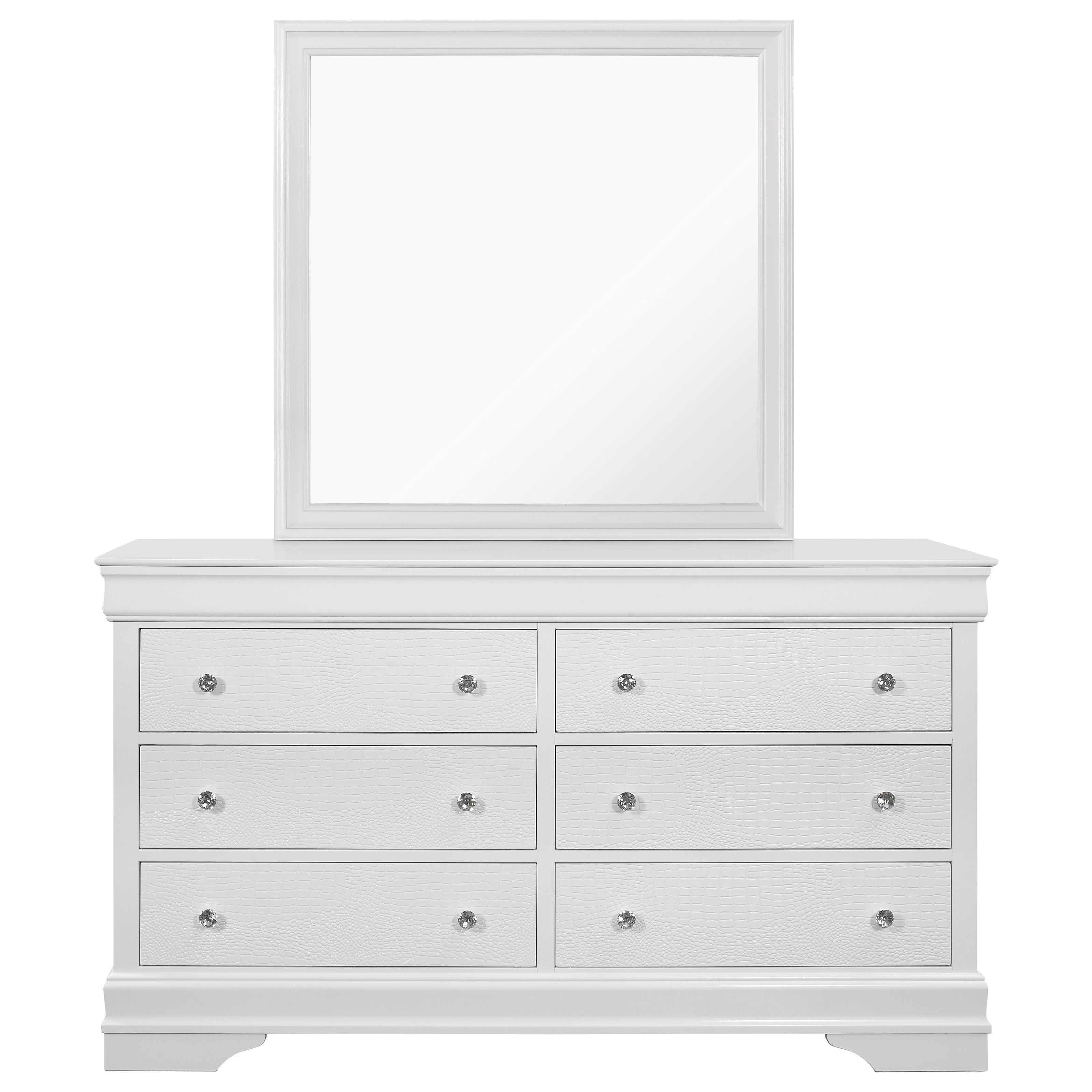 Global Furniture Pompei Pompei Metallic White Dr Mr Transitional 6 Drawer Dresser And Mirror Set Corner Furniture Dresser Mirror Sets