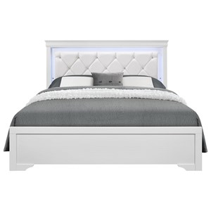 Transitional King Upholstered Bed with Faux Croc Pattern and LED Lights
