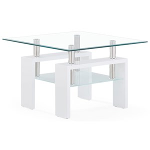 Glass And Frosted End Table