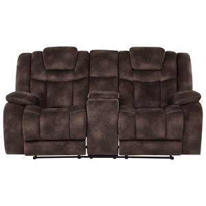 Casual Power Reclining Console Loveseat with Power Tilt Headrests and USB Charging Ports