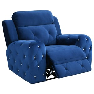 Transitional Power Recliner with Rhinestone Tufting and USB Charging Port
