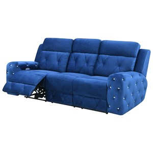 Transitional Power Reclining Sofa with Rhinestone Tufting and USB Charging Port