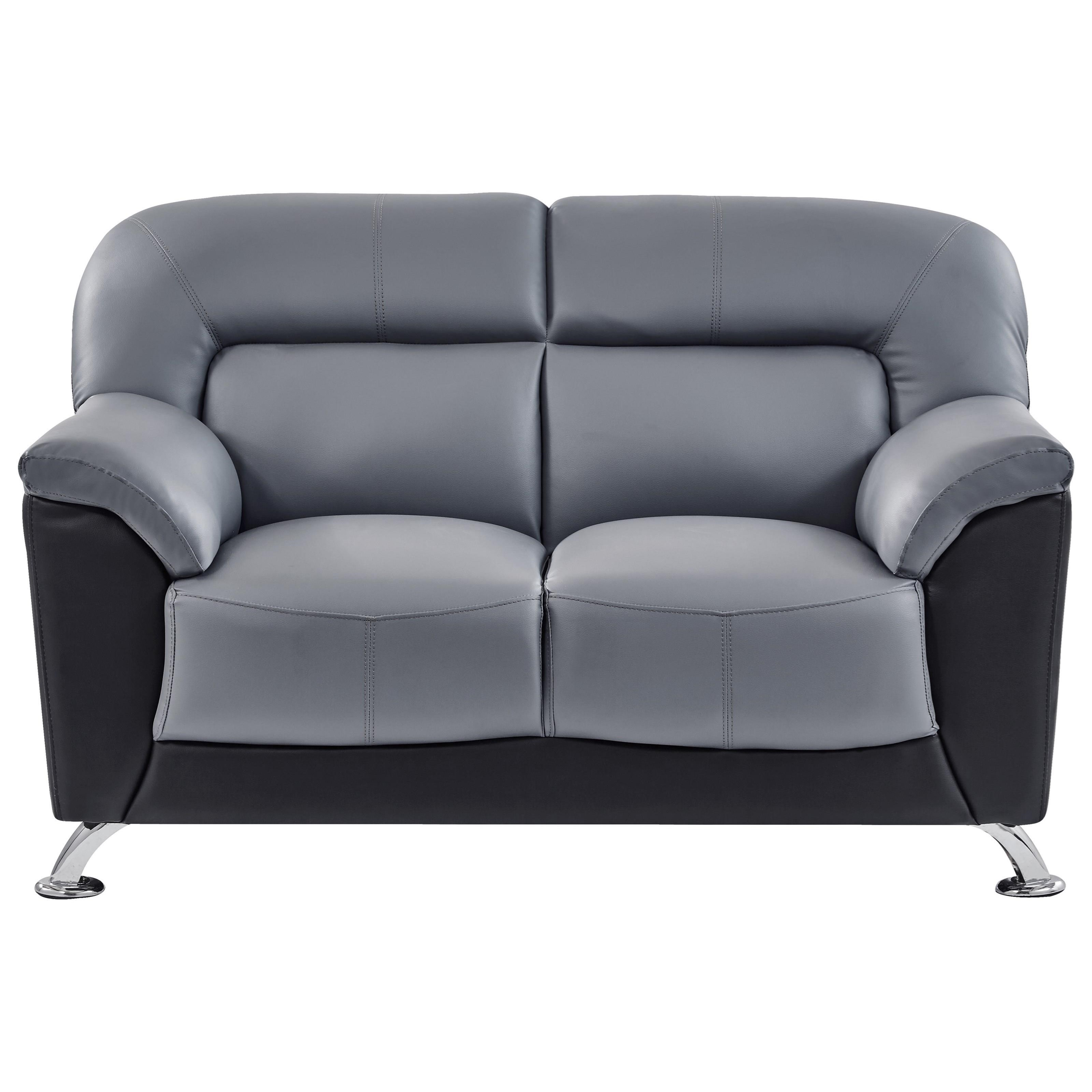 Global Furniture U9102 Casual Contemporary Loveseat with Chrome ...