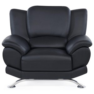 Upholstered Chair with Chrome Legs